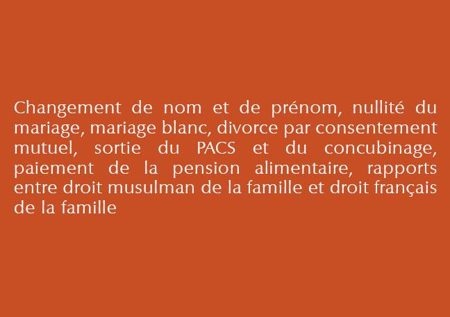 Droit des personnes et de la famille détails